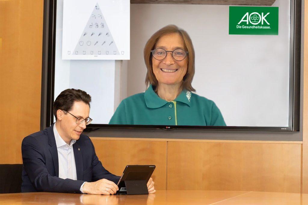Oberbürgermeister Dr. Christian Moser mit Dipl. Oecotrophologin Dagmar Dechert