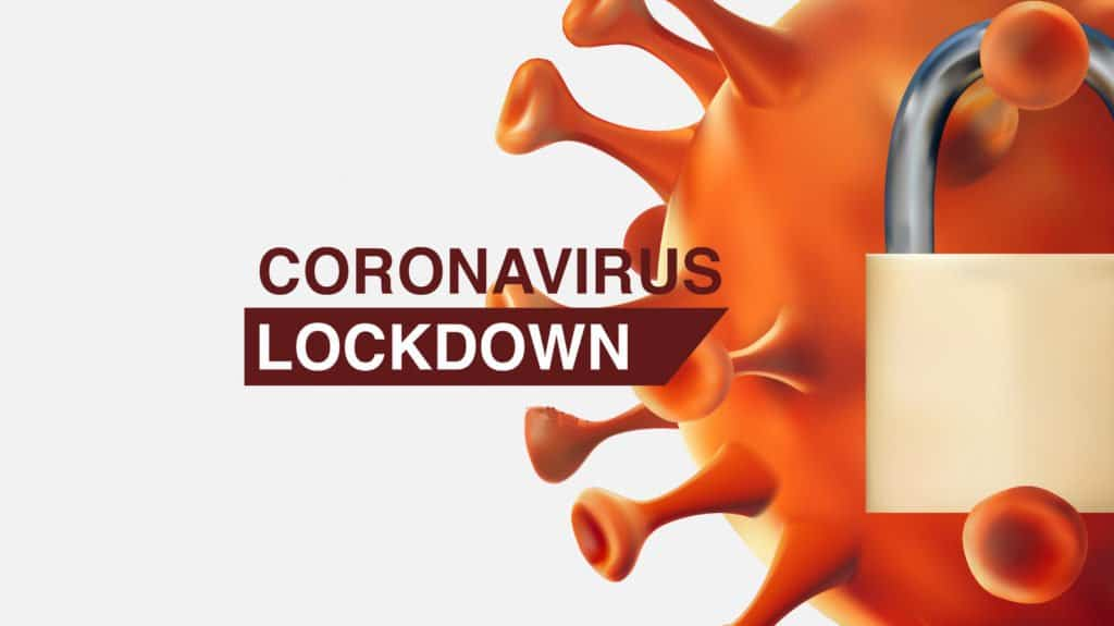 Corona Lockdown Virus-Symbolbild mit geschlossenen Vorhängeschloss