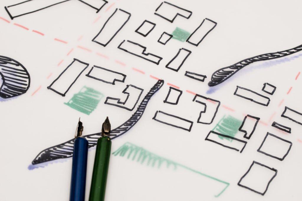 Handgezeichneter Plan aus der Bauleitplanung der Stadt Deggendorf