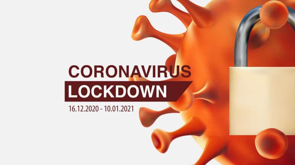 Corona-Virus Symbol mit einem Vorhängeschloss kennzeichnet den erneuten Lockdown in Deutschland.