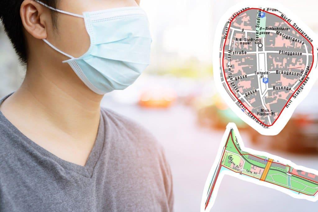 Mann mit Mund-Nase-Maske im Stadtgebiet plus Ausschnitte Bereiche Deggendorf, wo Maskenpflicht gilt