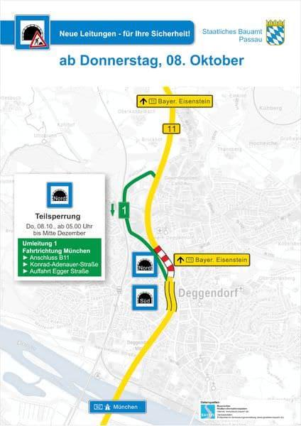 Verkahrs-Umleitungsplan zur B11-Tunnelwartung Teilsperre Nord-Tunnel