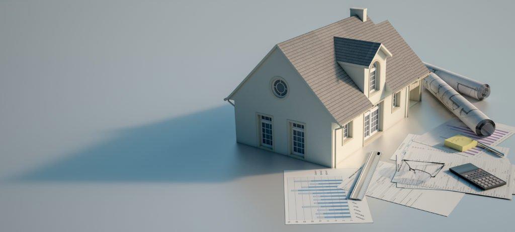Modellhaus mit Unterlagen und Pläne zum Bau zum Bauantrag in der Stadt Deggendorf