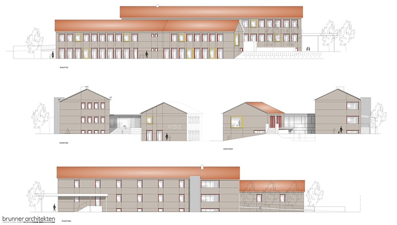 Plan mit Ansicht der Grundschule Mietraching nach Generalsanierung