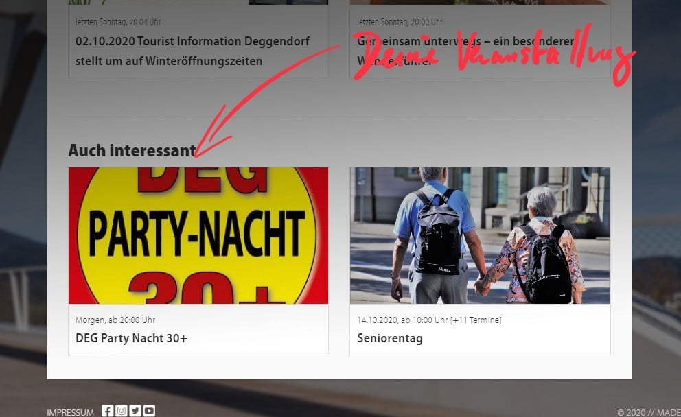 Screenshot vom Footer unserer Website