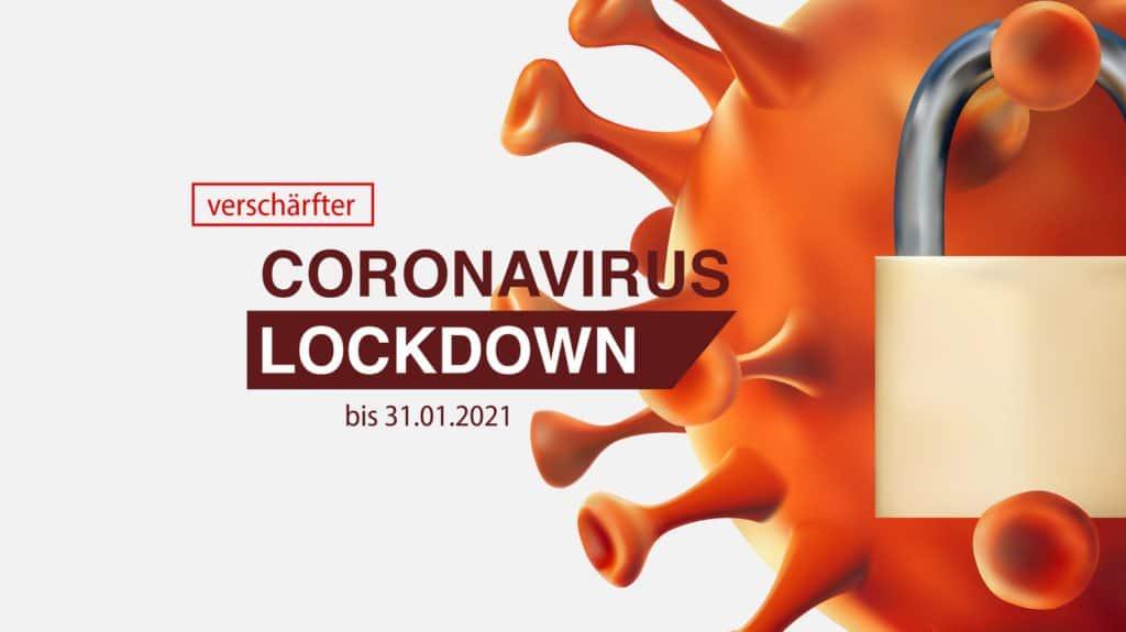 Corona-Virus-Symbol mit einem Vorhängeschloss symbolisiert die verschärften Corona-Lockdown Regeln im Januar 2021